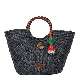 Nicole Lee Top Handle Woven Straw Tote Bag